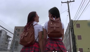 2 schoolgirls have sex with a hawt aged lesbian babe