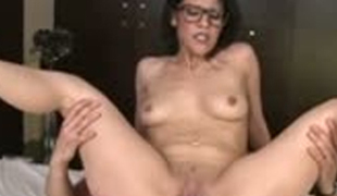 Saucy foureyed hoe riding big jock on top and then getting group-fucked brutally in a doggy style