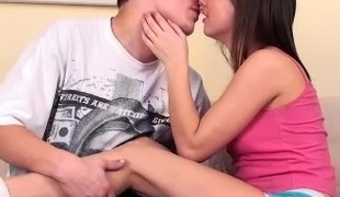 Panty teen gives head to her man