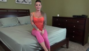 Tattooed Christy Mack fucks her dildos passionately