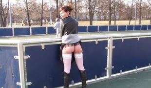 Public wet crack and ass flashing with a beauty