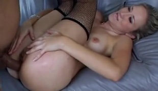 Tight booty of a golden-haired slut drilled doggystyle