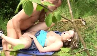 Kissing and fucking in the forest with a gorgeous legal age teenager