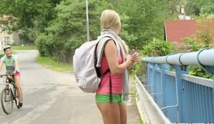 Sweet teen gal Whitney Conroy bonks her sexy lesbian GF outdoors