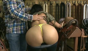 Natasha shows her huge whoppers and her bubble butt to the shop owner