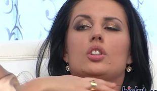 brunette babe dildo