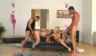 James Brossman makes Blonde Celine Doll gag on his meaty pecker