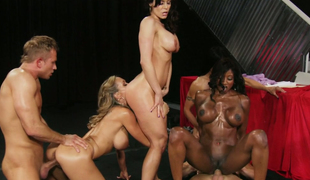 Brandi Love and her pretty GFs screwed hard in group sex