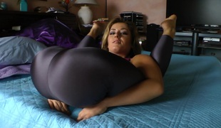 Hawt flexible solo playgirl with small zeppelins stripteasing while displaying her hot ass