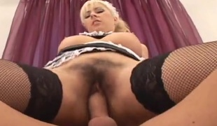 French maid rides his rod until this guy cums