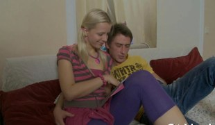 Delicious blonde teen getting pinned down with dick in couch