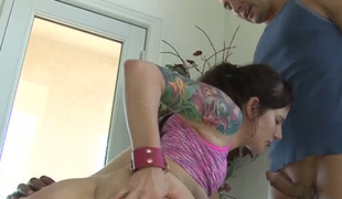 Tattooed large assed harlot Maci May enjoyed steamy interracial threesome
