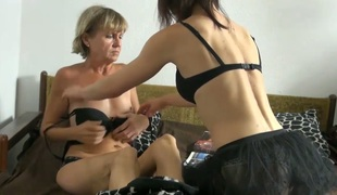 Cute youthful girl Vendi is having dirty lesbo sex with old nanny Miranda