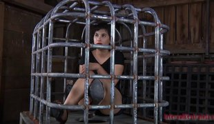 Hot sweetheart in a cage endures all sorts of love toys betwixt her legs