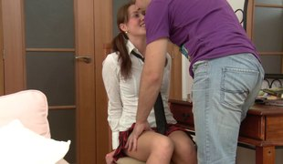Barely legal girl is willing for an experienced hunk's chubby boner