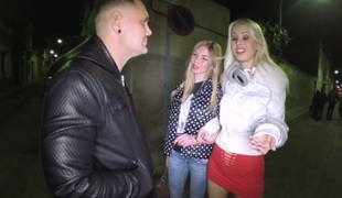 Trashy blond slut in red costume Lynna Nilsson fucks two guys after party