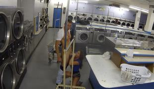 A brunette with a hawt pussy is in the laundry room, handling the penis