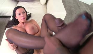 Charming brunette MILF in sexy nylons wants a biggest black dick