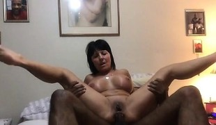 Granny takes a BBC up her tight asshole