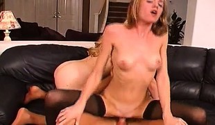 Petite blonde in stockings enjoys lesbian sex and fucks a rigid 10-Pounder