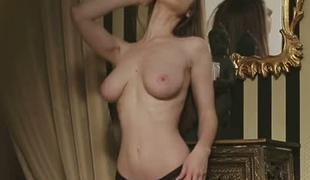Perfect slender girl with magnificent big boobies can be your muse