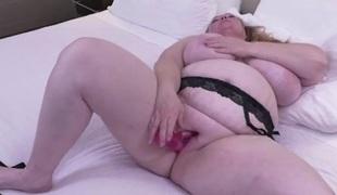 Solo BBW slut in underware has sexy dildo sex