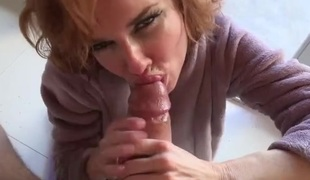 Lingerie and a bathrobe on cocksucking Veronica Avluv