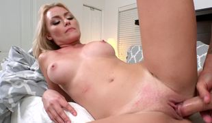 Top enormous blonde is opening up her cum-hole to receive drilled hard