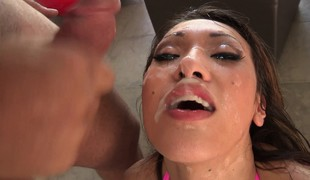 Blowjob queen Jayden Lee does her magic deep mouth on 3 rods