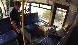Sleepy sweetheart woken and drilled hard in the bus