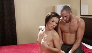 Petite Asian sex doll Kalina Ryu had stout oral sex with beefcake American guy in hotel room