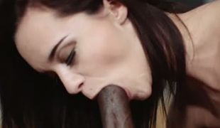 Dark haired tiny GF Lea Guerlin sucks BBC and then receives nailed tough