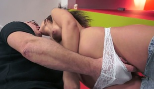 Hairless headed old dude copulates wicked whore Anina Silk