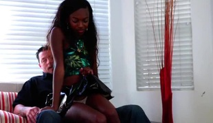 Lusty ebony slut gets her tight twat hammered with a white penis