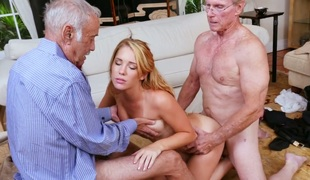 Stunning blond bimbo Raylin Ann fucks three old farts