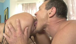 Hot golden-haired is getting drilled by a father and his son in a threesome