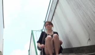 Japanese gal voids urine in public area