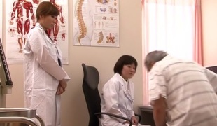 Crazy Japanese wench Love Saotome, Minami Hirahara, Nana Usami, Hitomi Fujiwara in Horny nurse, lesbian JAV movie scene