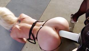 blonde lesbisk strømper ass dildo leketøy jenter strapon