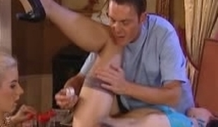 Dildo and Anal fisting treatment. Threesome, Underware