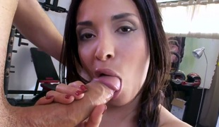 Anissa Kate is a Latina with curves in all the right places. Her sizable wazoo is getting an anal gangbang in this scene. She's licking a wang as well.