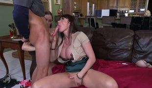 A step mommy joins in a threesome