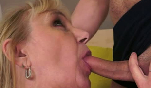 Horny young freak eats out shaved vagina of a granny
