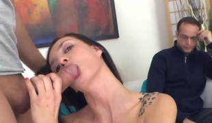 Hot Wife Sperm Pied while husband watches