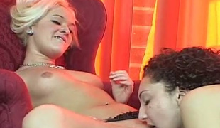 Tempting lesbo girls cunt licking passionately in 69 position