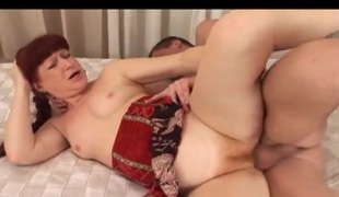 Hirsute mature redhead pounded by his fuck meat