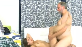 Beautiful juvenile hottie gets banged from behind by old naughty guy