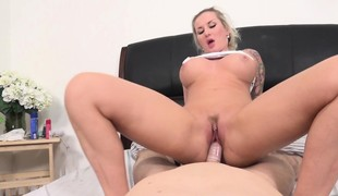 Tattooed blonde with perfect bumpers and ass goes wild for a long stick