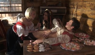 Village threesome fuckfest with Ash Hollywood and India Summer