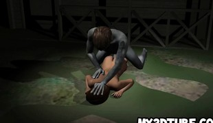 3D toon chick getting fucked outdoors by a zombie